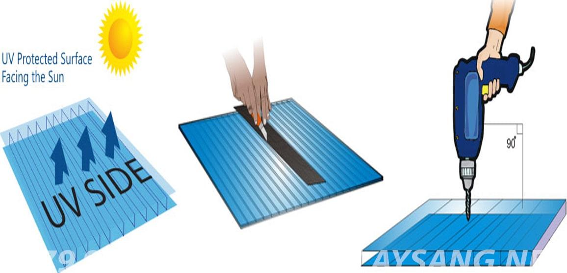 cách khoan và nối tấm lợp lấy sáng rỗng ruột