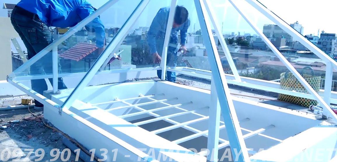 công trình giếng trời tấm lợp solarflat